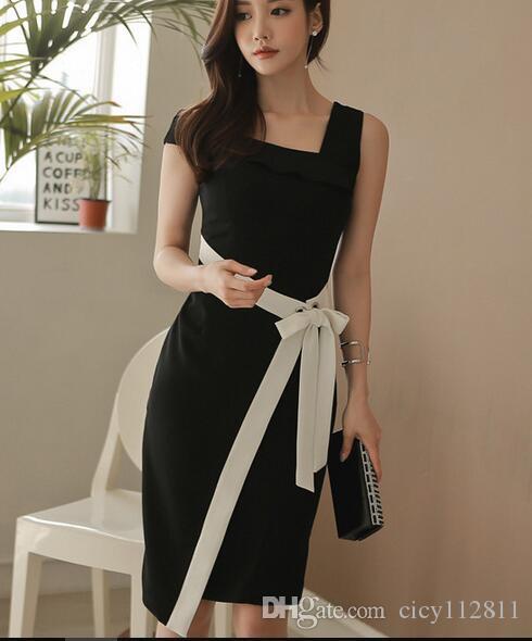 Versión coreana de la moda de verano New Oblique Weop Hombro Palabra Bolsa de cuello HIP Vestido delgado