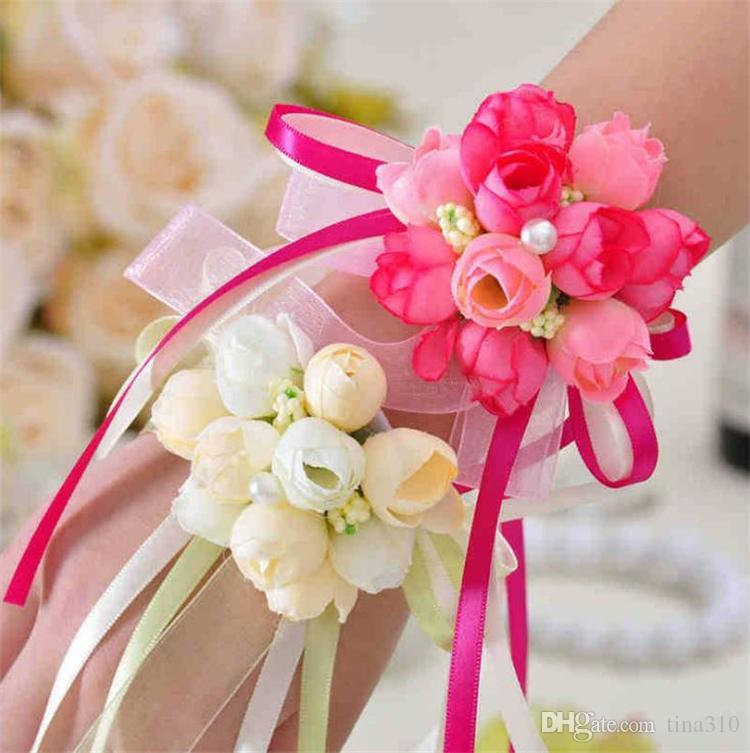 The Beautiful Korean simulation sister wrists flower Bridesmaid Flower Bridal wrist flowers and Hand flower T4H0223
