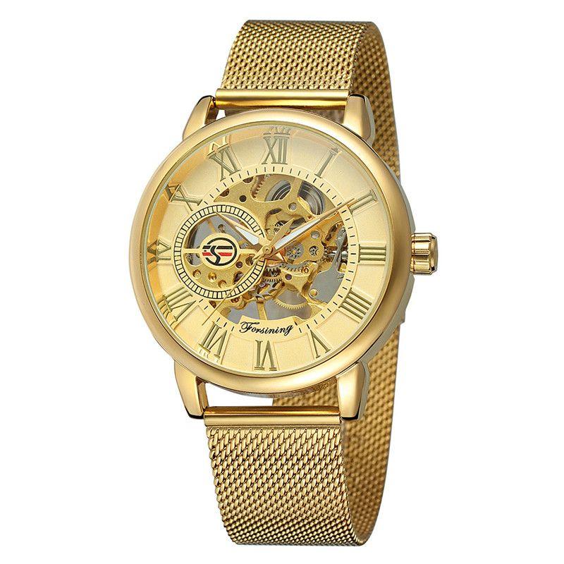 Hot montre la section creuse montre mécanique automatique en acier inoxydable d'affaires hommes Forsining véritable origine maille mouvement de montre de la marque