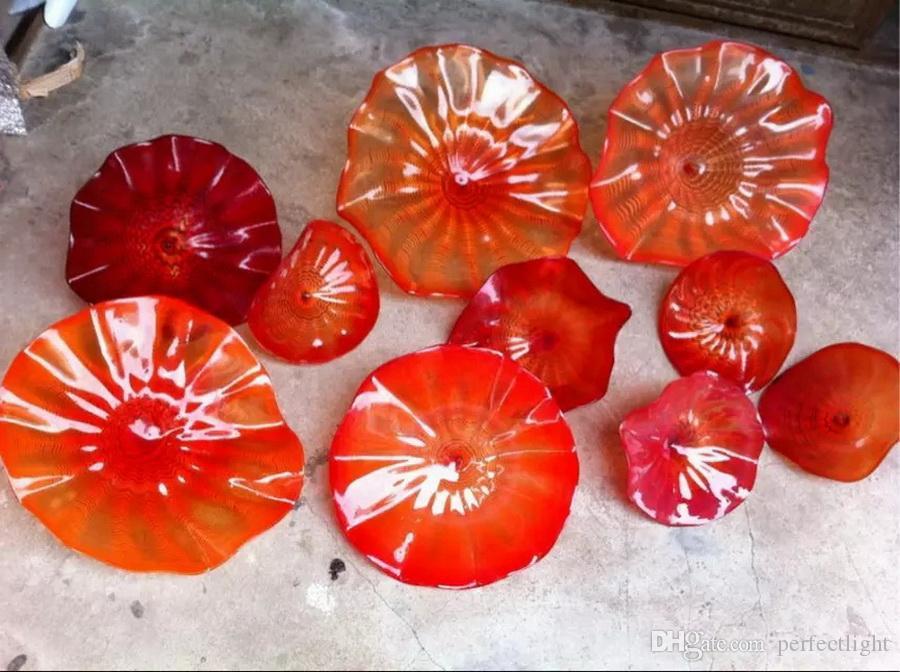 Diseño moderno Pared de la boda Decorativo Colorido Hogar Decorativo Soplado a mano Placas de vidrio de Murano para colgar en la pared