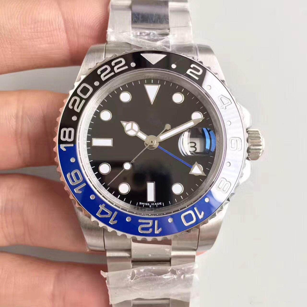 2020 venta caliente para hombre Relojes Hombres Pepsi GMT Azul Rojo Bisel de cerámica Correa automática de acero inoxidable Sólido Clssp Deportes Auto-viento Relojes Relojes de pulsera
