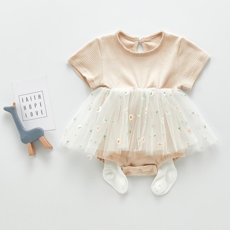 3461 ropa del bebé para el verano de la manga corta elegante falda con Fart pequeña flor de la falda del acoplamiento de los mamelucos