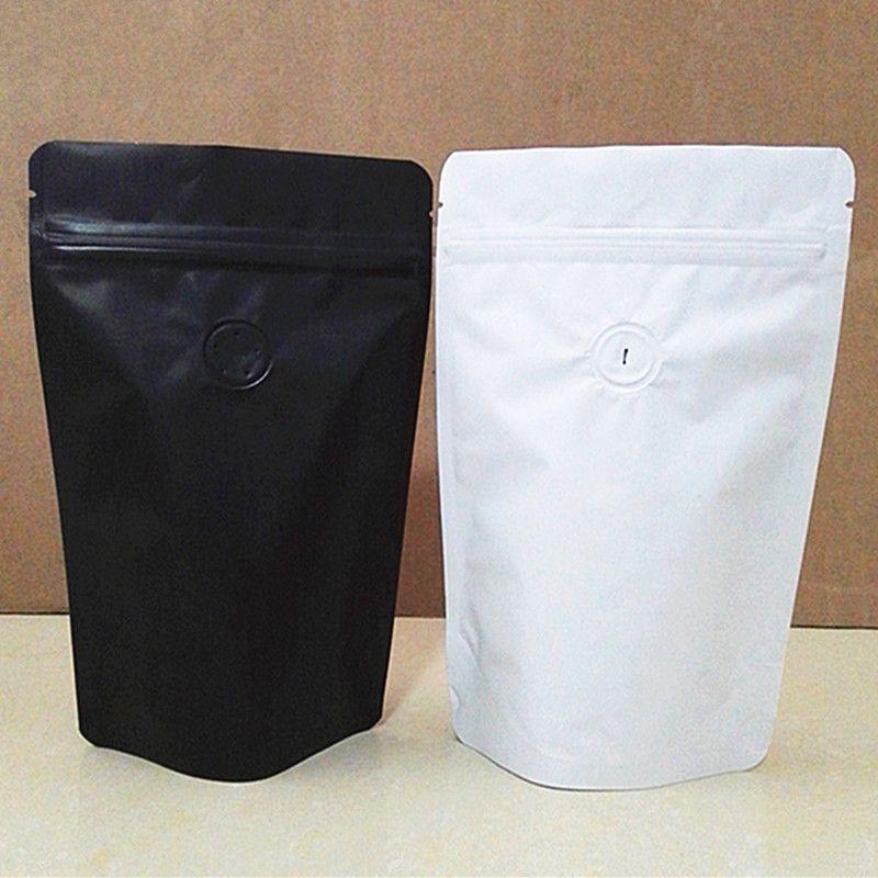 50pcs MaBlack / blanc Levez-feuille d'aluminium de sacs à valve grains de café sac de rangement à sens unique Valve Moistureproof Paquet Sacs