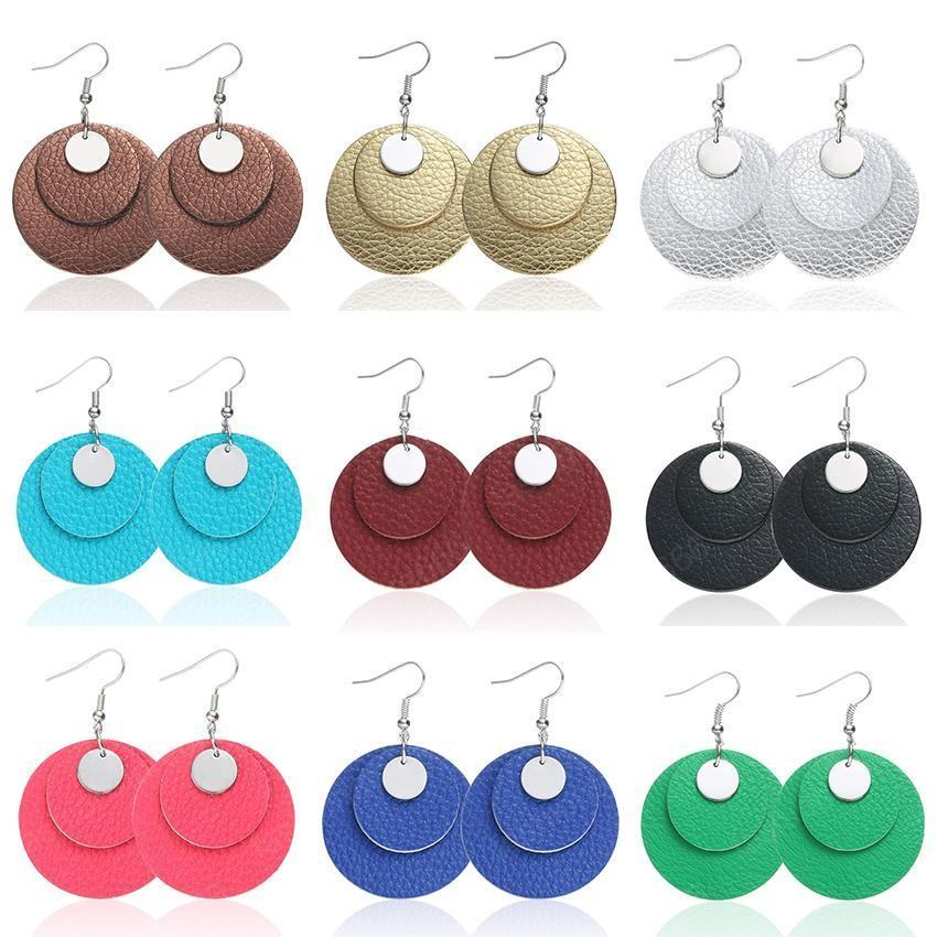Accessori in pelle orecchini multistrato Circolo Nuovo cuoio rotonda PU metallo ciondola gancio per l'orecchio del cerchio Eardrop dei monili del progettista per le donne