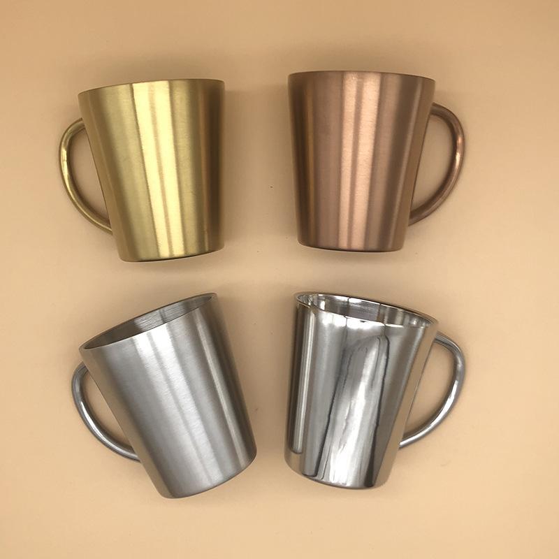 Kol Ücretsiz Kargo ile 300ml Kahve Kupa Bira Kupası Çift Duvar 304 Paslanmaz Çelik Su Kupası