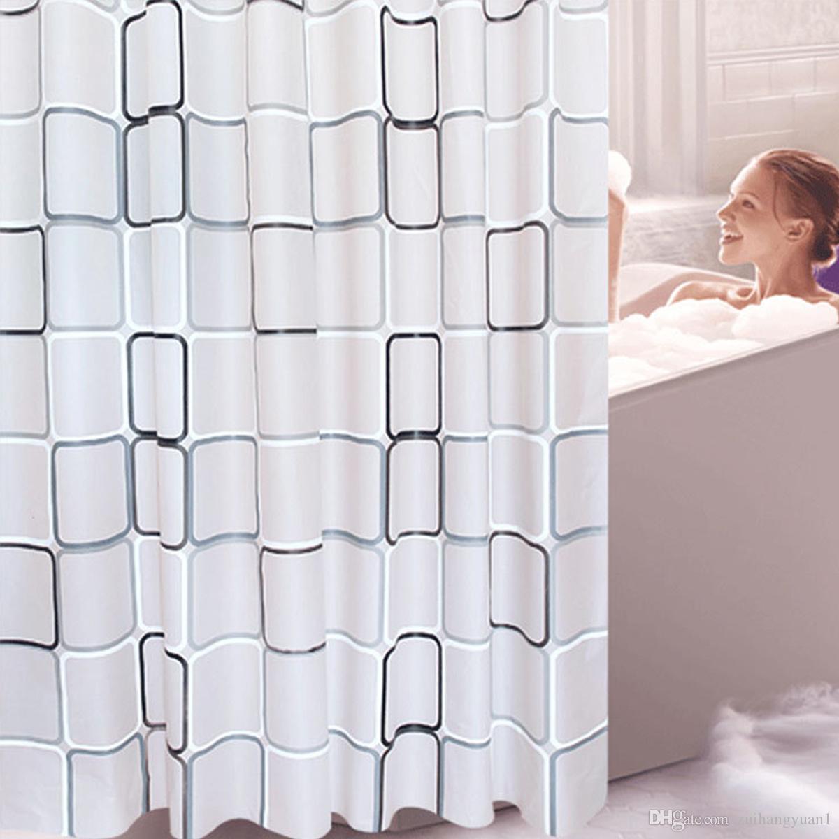 PEVA Waterproof Shower Curtains Bathroom Bathing Curtain with Hooks 8 Sizes UK