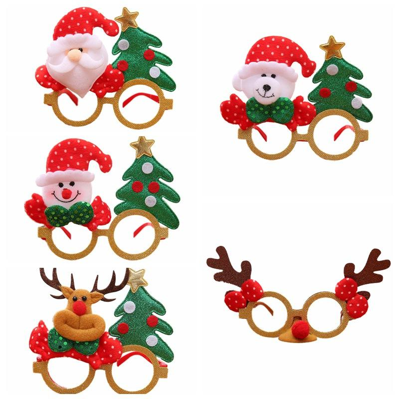 NewChristmas Eyeglass Christmas Decorative Glasses For Women Girls Birthday Party Antlers Red Hat Creative Children's Gifts #E