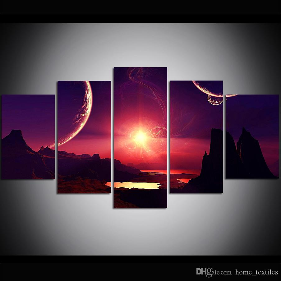 5 Piece Large Size Canvas Wall Art Alien Planet Oil Painting Wall Art Pictures for Living Room Paintings Wall Decor