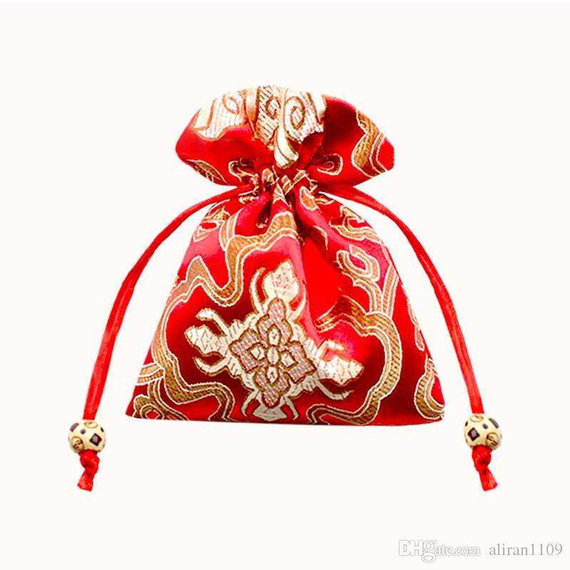 11x14 13x16 16x19cm китайского шелка Brocade кулиской ювелирные изделия сумки сумка Значение Набор монет Кошелек Подарки Сумки