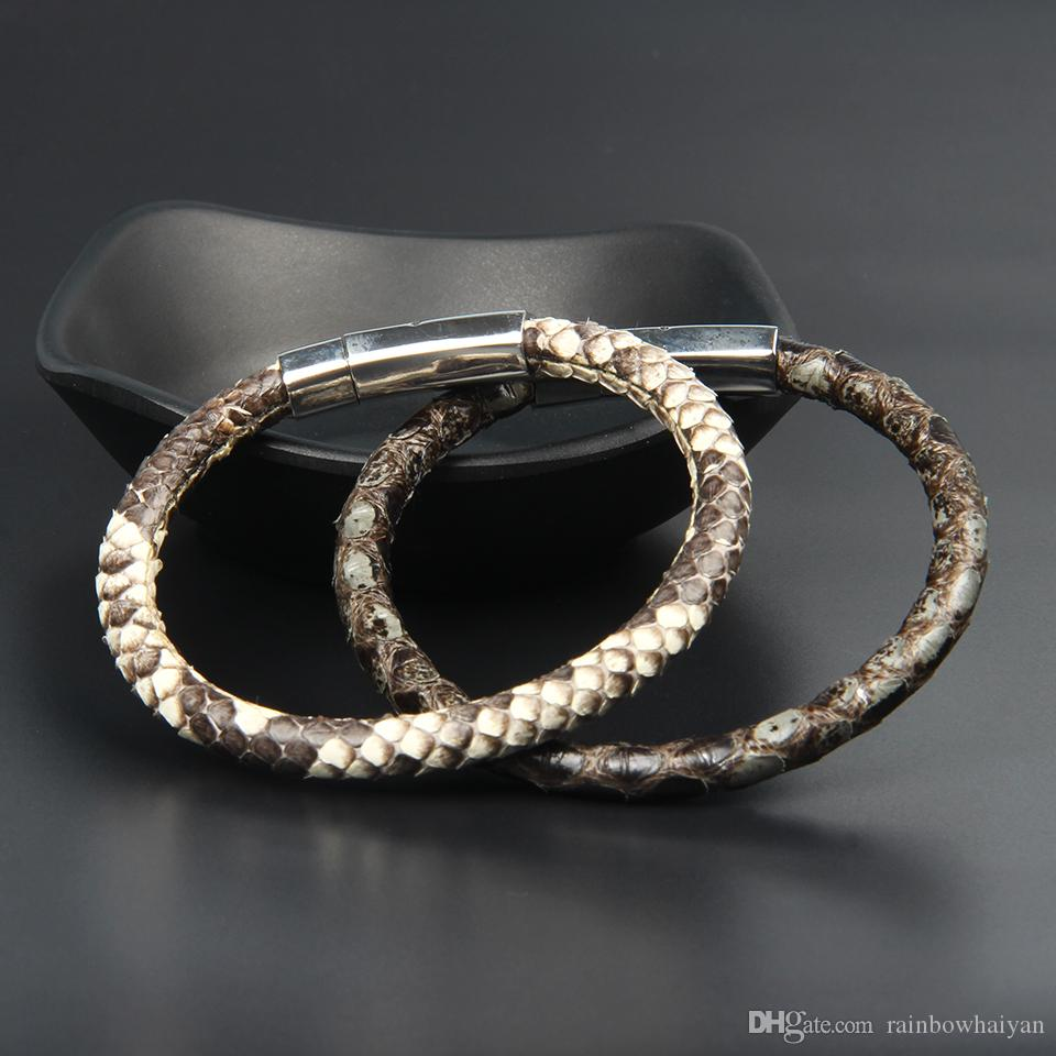 6mm Genuine Python Snake Skin Bracelets Stainless Steel Leather Bracelet With Magnetic Buckle Claps Jewelry For Men Gift