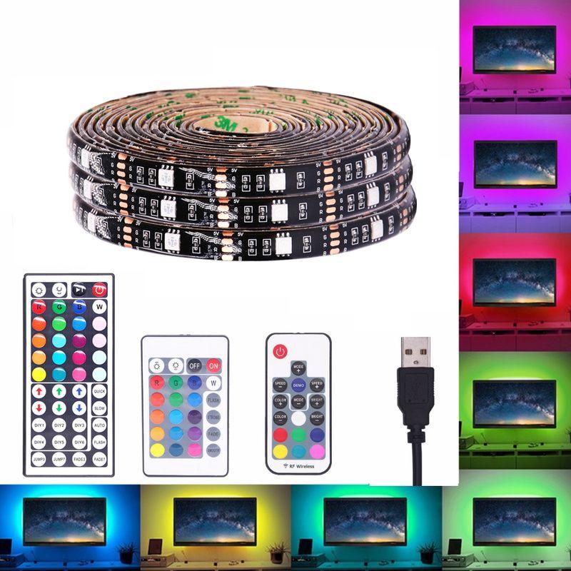 DC 5V RGB USB ضوء LED قطاع 5050 5M قطاع 300leds IP65 للماء الشريط LED أضواء RGB المصابيح مرنة الشريط IR RF 3Key 17Key 24Key حدة تحكم