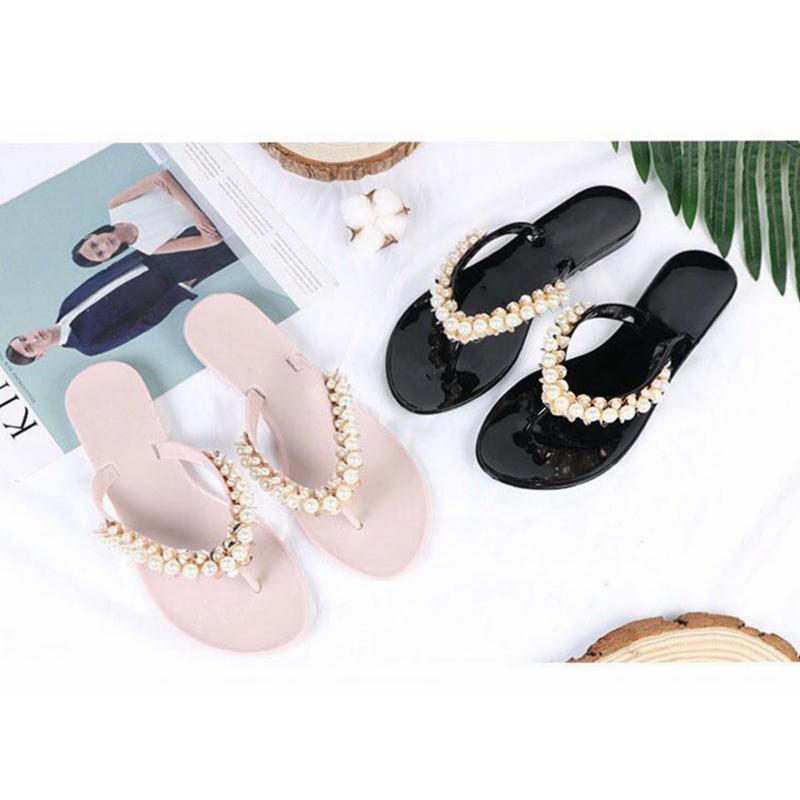 gros femmes chaussons de plage d'été Chaussons Flip Sandales flops femmes perle Mode Chaussons dames Chaussures Flats Livraison gratuite