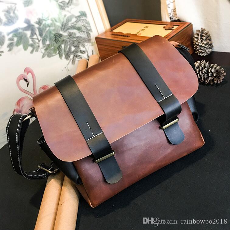 wholesale men handbag outdoor casual leather messenger bag simple retro leather shoulder bag flip contrast leather fashion messenger bag