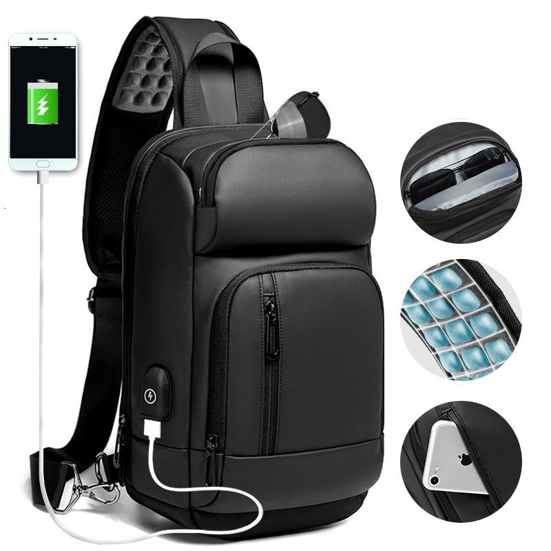 EURCOOL Siyah Göğüs Casual Omuz Crossbody Çanta Su İtici Seyahat Çantası Erkek n1820 MX191018 Şarj Erkekler USB Paketleri