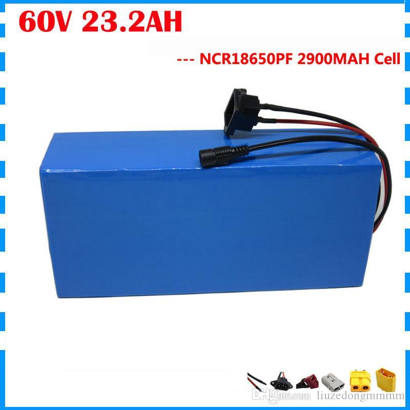 libres libres de 2500W 60V 23AH batería de litio 60V 23.2AH scooter de uso de la batería 2900mAh ebike celular Panasonic 50A BMS 2A Cargador