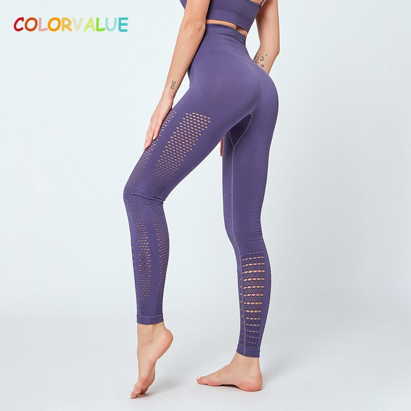Colorvalue Sexy Hollow Out Seamless Sport Fitness Leggings Women Hip Enhancing Squat Proof Athletic Workout Gym Tights Yoga Pant Y200328