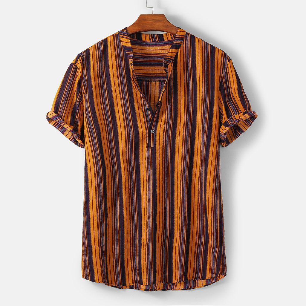 Mens Shirt Tee Shirt à manches courtes Haut rayé été Streetwear collier casual stand Multicolor mode Tops hawaïennes 2020 New T200505