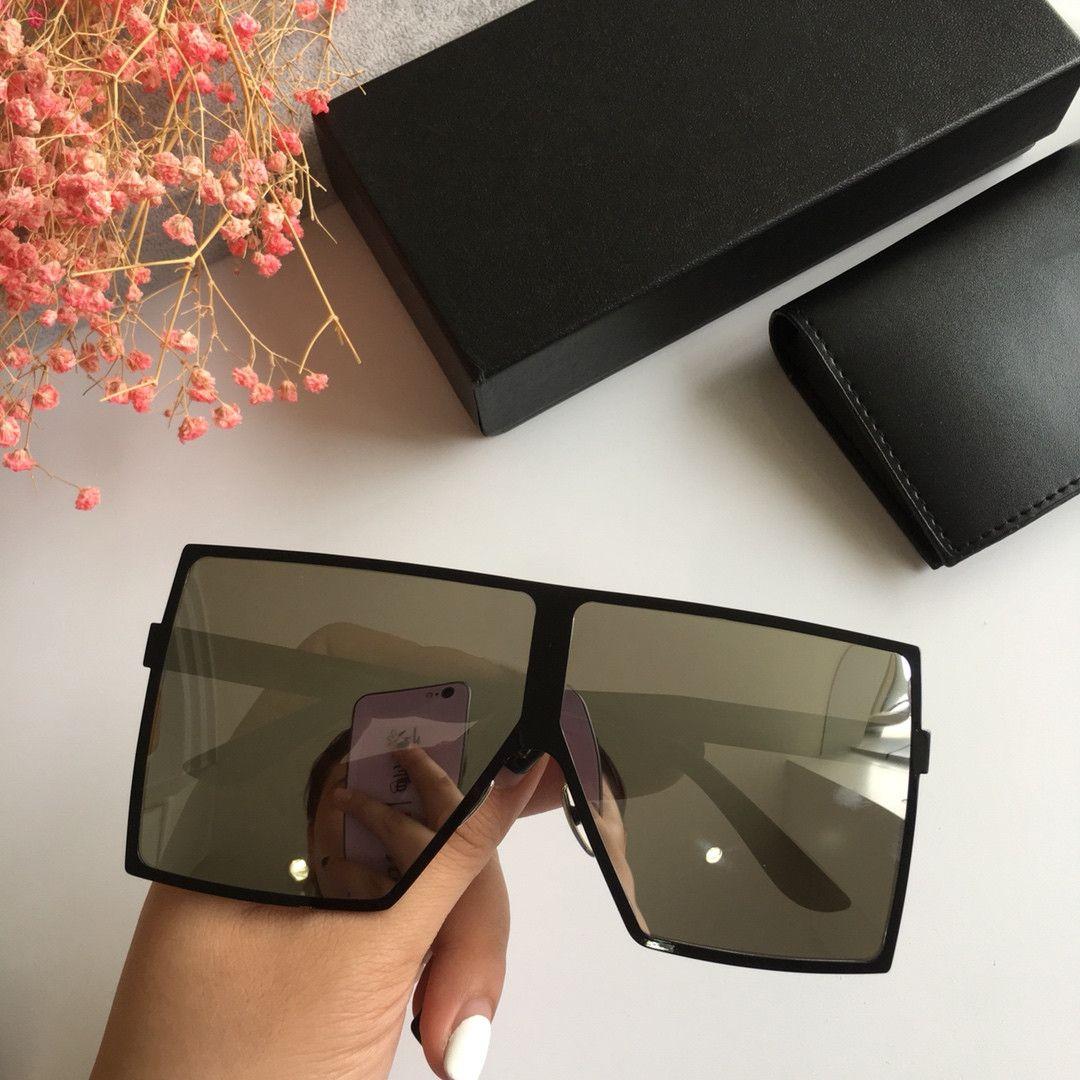 Oversized Praça Sunglasses Mulheres 2020 Moda Flat Top Red Preto Limpar Lens One Piece Homens Gafas Sombra Espelho completa UV400 Quadro