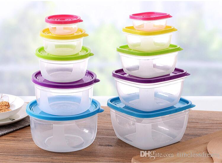 2019 Multifunction Transparent Sealed Crisper Set Food Grade PP Material  Round Square Moistureproof Food Storage Box Kitchen Containers From ...