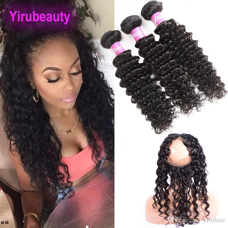 Peruvian 100% Unprocessed Human Hair 4 Pieces/lot Bundles With 360 Lace Frontal Deep Wave Curly 22.5*4*2 Lace Band 360 Lace Frontal