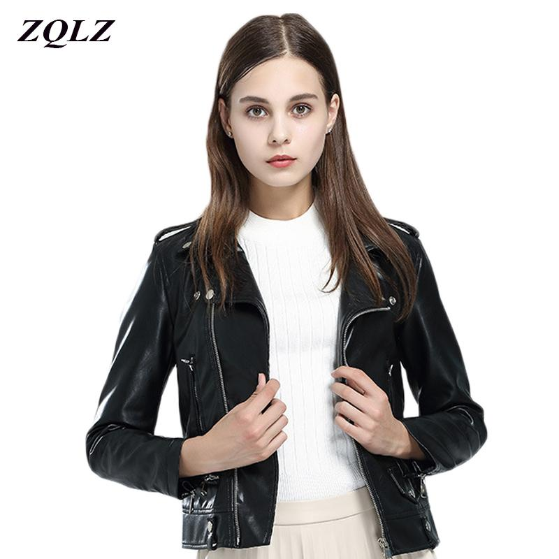 Women Faux Pu Leather Jacket Short Paragraph Spring Autumn Female Coat Fashion Turn-down Collar Zipper Motorcycle Jacket Women