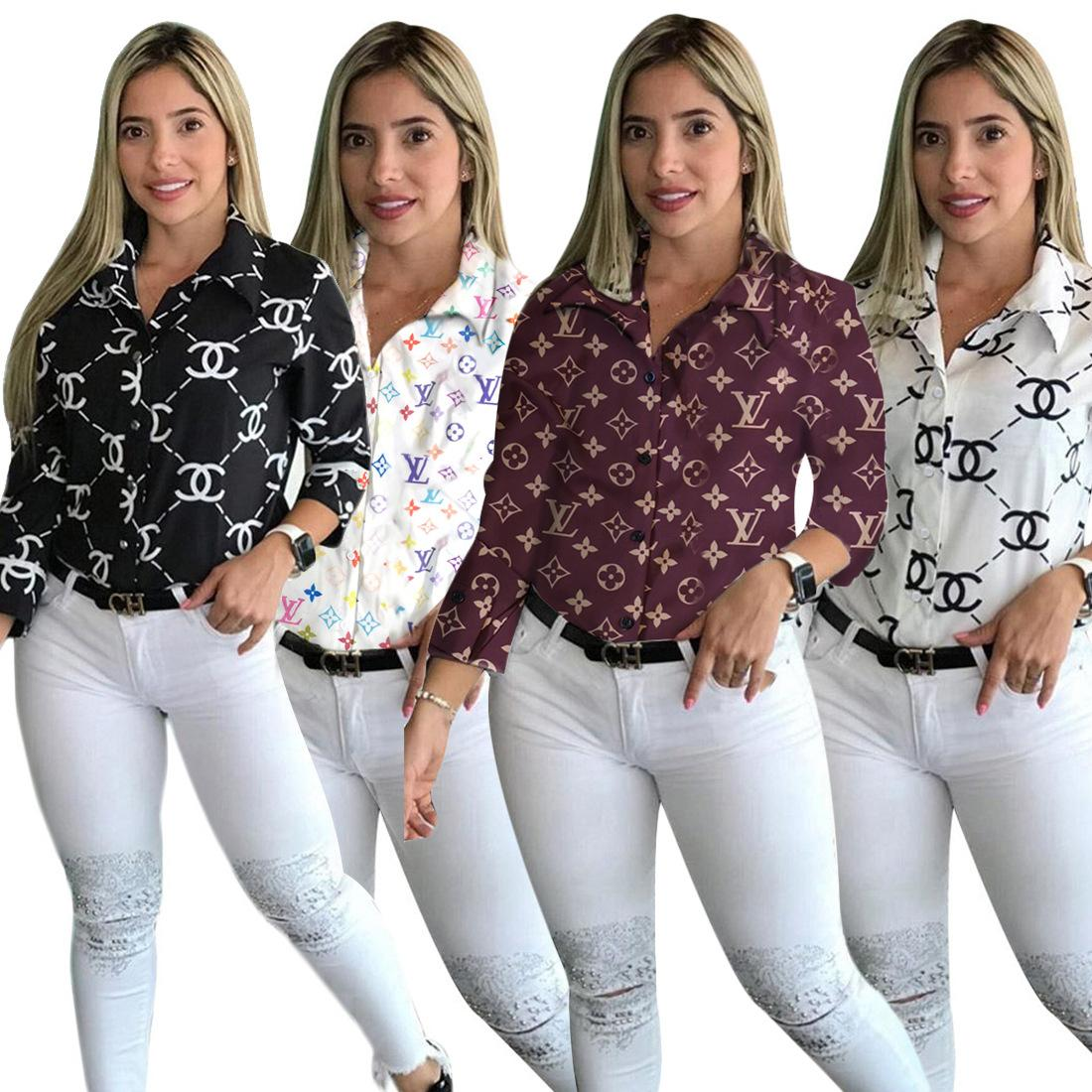 Printed Shirt Women Tops Long Sleeve Spring Autumn Blouse Fashion Casual Ladies Shirt
