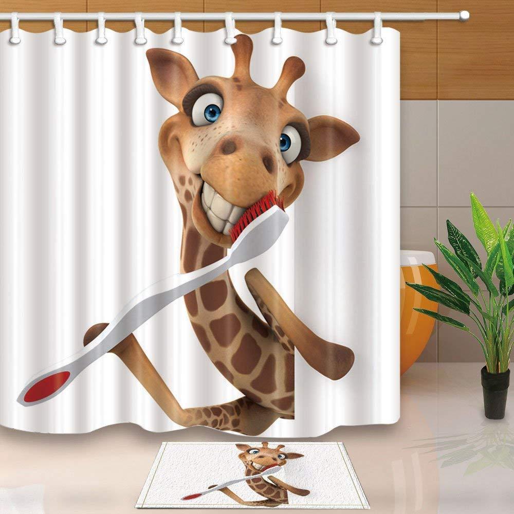 Großhandel Guten Morgen Giraffe Mit Zahnbürste Duschvorhang Und Mat Set Home Decoration Kuschelig Wasserdichtes Gewebe Bad Vorhang Von Homegarden