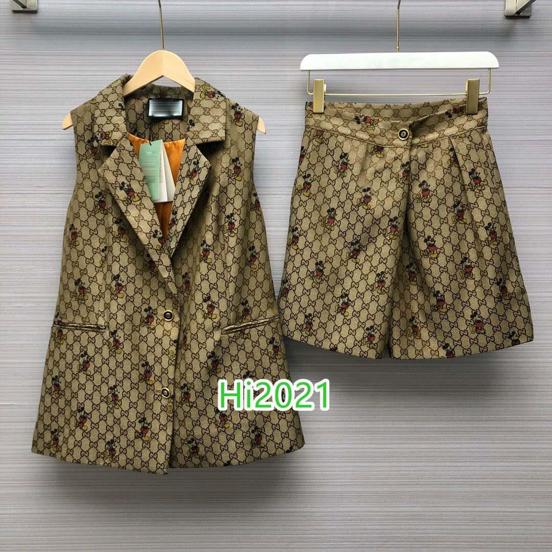 하이 엔드 여성 여자 캐주얼 조끼 정장를 allover 연동 동물 문자 긴 재킷 코트 + 같은 반바지 2020 패션 고급스러운 디자인 세트 자카드