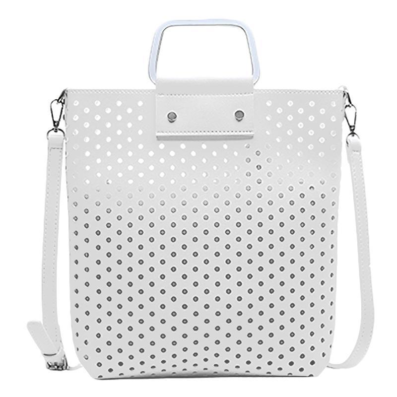 Новые женщины сумка Pu кожа выдалбливают сумка Мода дамы большей вместительности сумки на ремне сумки Женский Повседневный Белый