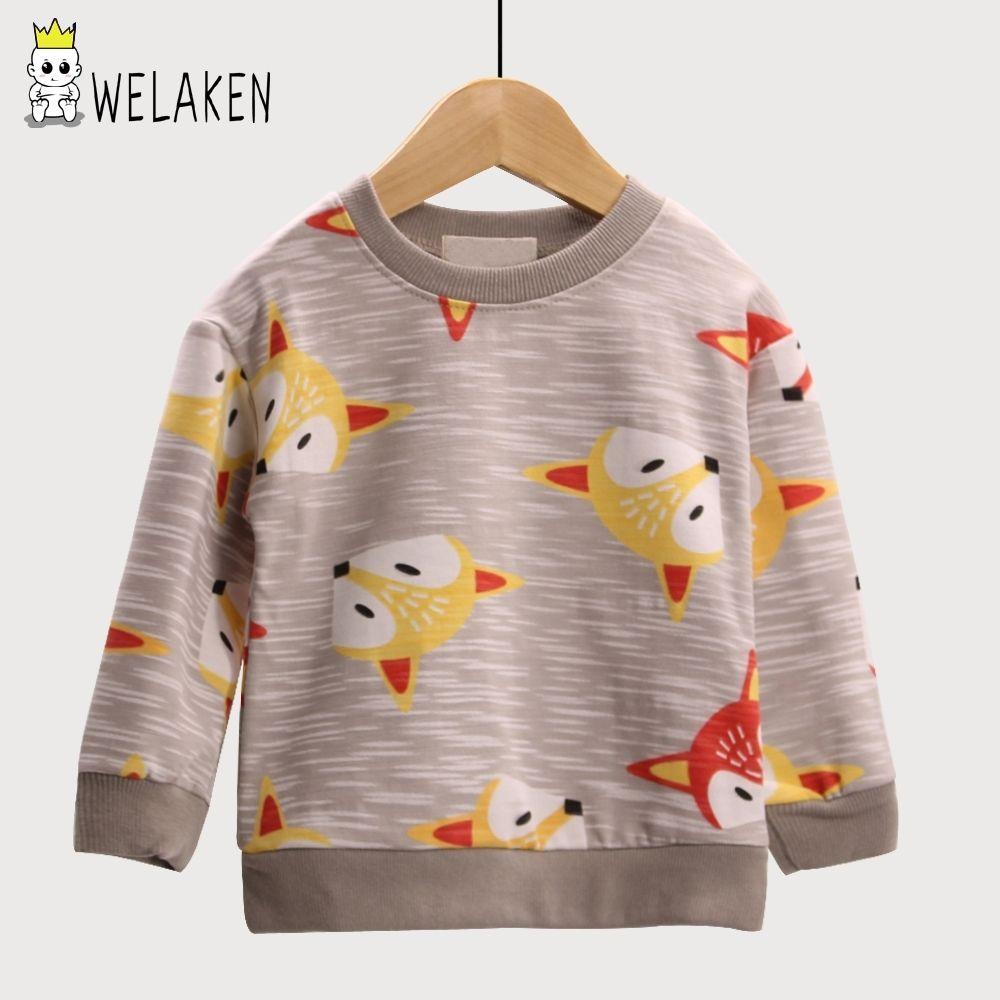 Ropa Niños weLaken capa ocasional de dibujos animados de animales Patrón Fox hoodies de las muchachas Outwear primavera de niños de los niños de la manga de la camiseta larga CY200520