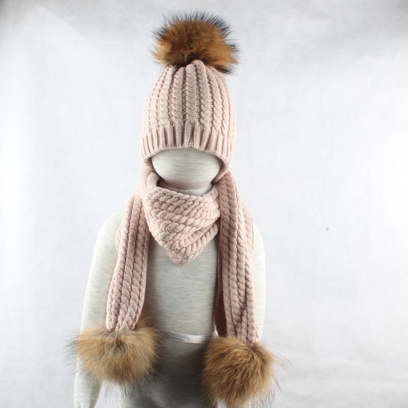 Winter Scarf Beanie Set For Women Kids Long Scarves Wool Fur Pompom Head Protect