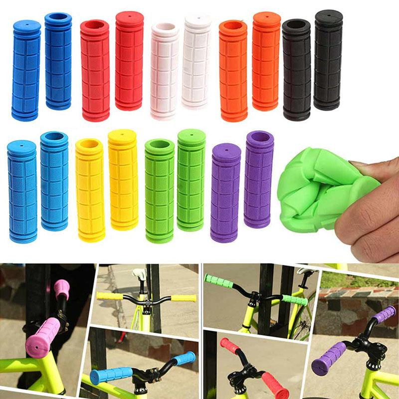 1 Pair Soft Rubber Handlebar End Grips For Bicycle Cycling Road Bike Mountain