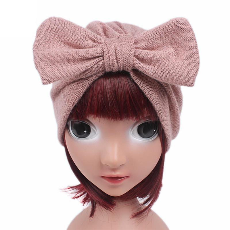 2019 vendita calda carino bambina bowknot cappello invernale caldo bambini neonate cappello lavorato a maglia berretto turbante testa avvolgere berretto mucchio # n20