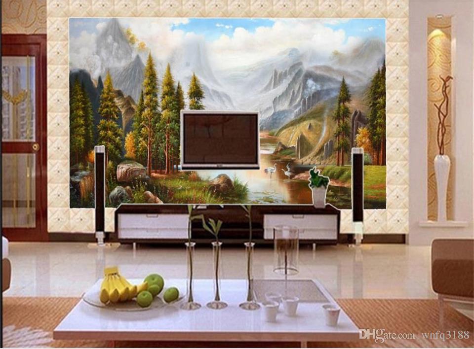 Tamanho personalizado 3D Foto Papel De Parede Sala de Visitas Mural Sika Cervo Branco Cisne Pintura A Óleo Sofá TV Mural Mural Home Decor Criativo Hotel Papel De Parede