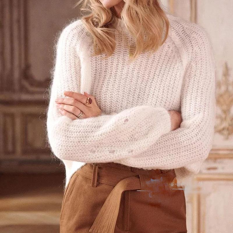 Mulheres Sweater 2019 Outono Inverno lã de angorá mistura de lã camisola de malha