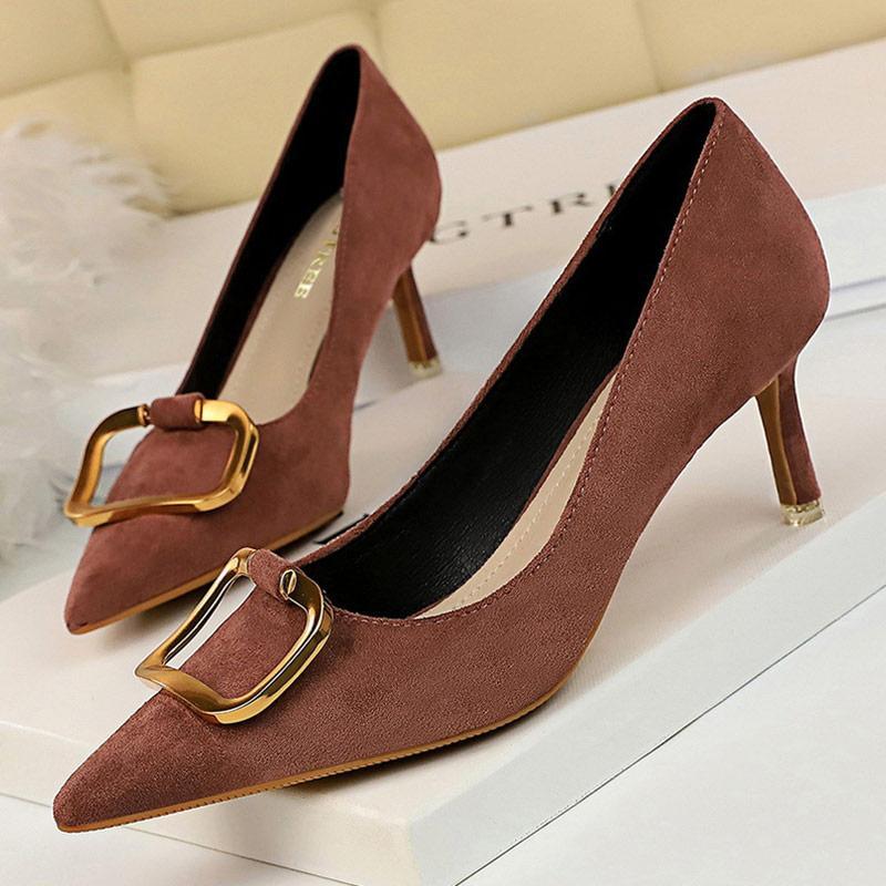 Bigtree Ayakkabı Kitten Topuklar Metal Düğme Kadınlar Süet Kadın Ayakkabı Yüksek Topuklar Büro Kadınlar Topuklar Bayan Ayakkabıları Ücretsiz Kargo