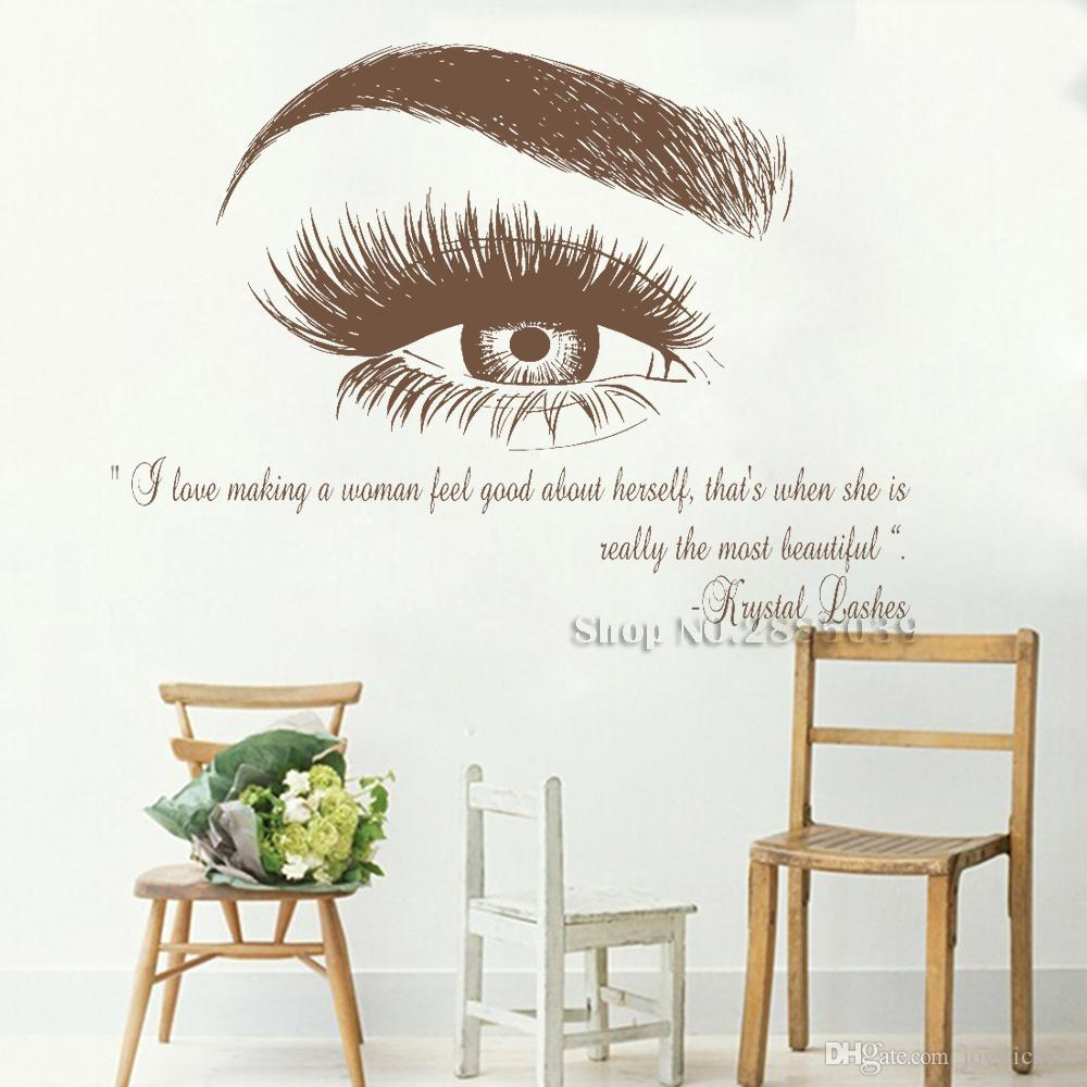 Beauty Salon Quote Wall Decal Stickers Eye Eyelashes Lashes Eyebrow Brows Vinyl Decals Livingroom Art Decor Sticker Muraux