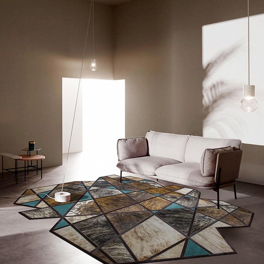 anormalité de style moderne en forme de motif géométrique véritable décoration tapis patchwork fourrure de peau de vache tapis de fourrure pour le salon