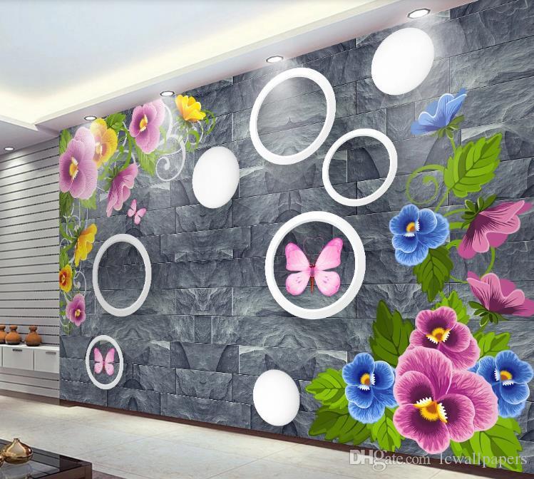 Fondo de pantalla personalizado 3d HD hermoso fondo de flores románticas 3D La televisión de fondo del papel pintado mural sala de estar Dormitorio