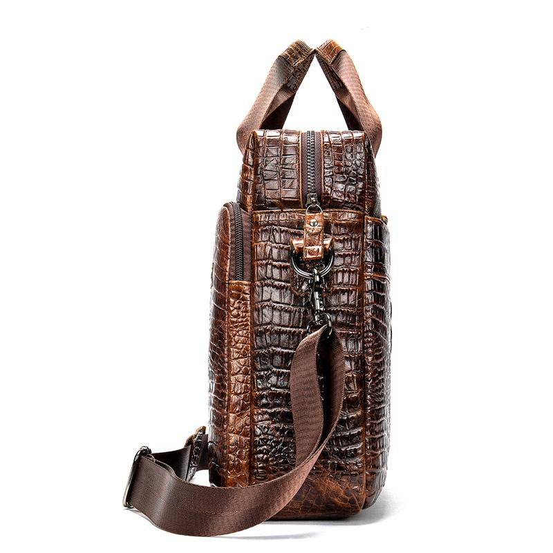 Mens Briefcase Crocodile Pattern Cowhide Leather Briefcases Shoulder Bag Business Office Bags 5555F2Coffee