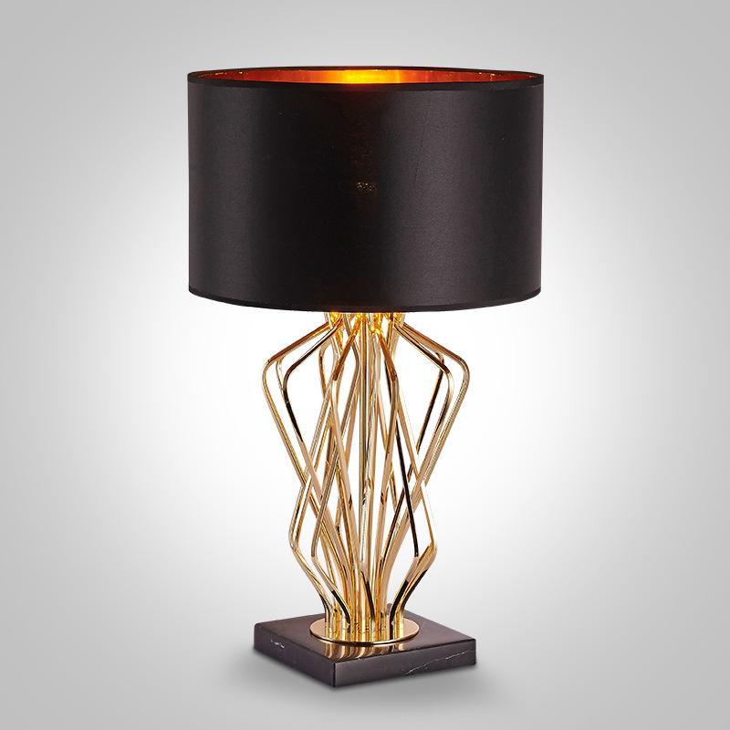 Ouro Preto moderno mármore tecido abajur de cabeceira mesa de leitura luminária Home Decor TA088