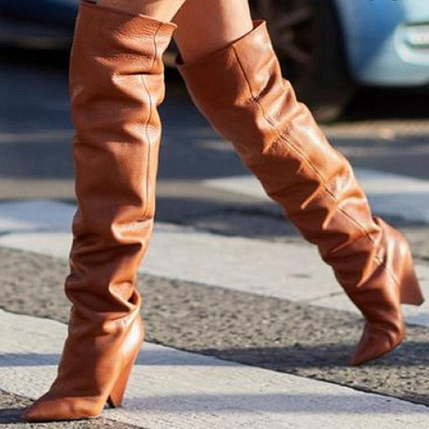 Hot Sale-Femmes en cuir Cuissardes femme Chaussures hiver fausse fourrure neige longue botte femme Cuissardes Bottes 9cm de talons hauts