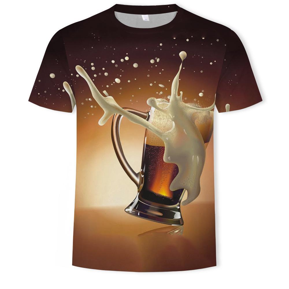 Verano Hombres camiseta 3D Tiempo de la cerveza de manga corta Modelo agua de la novedad O-Cuello remata tes divertido 3D Impreso Streetwear camiseta Ypf780