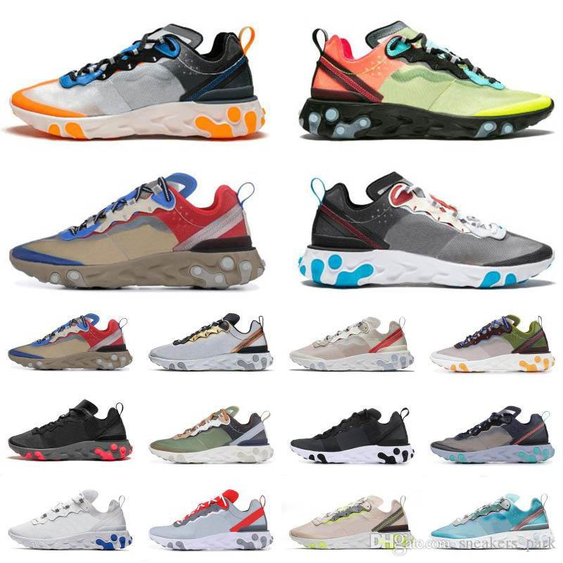 2020 Best Seller React Element 87 55 Undercover Hyper Fusion Total Orange Mens Running Shoes Light Bone Moss Womens stylist Sneakers