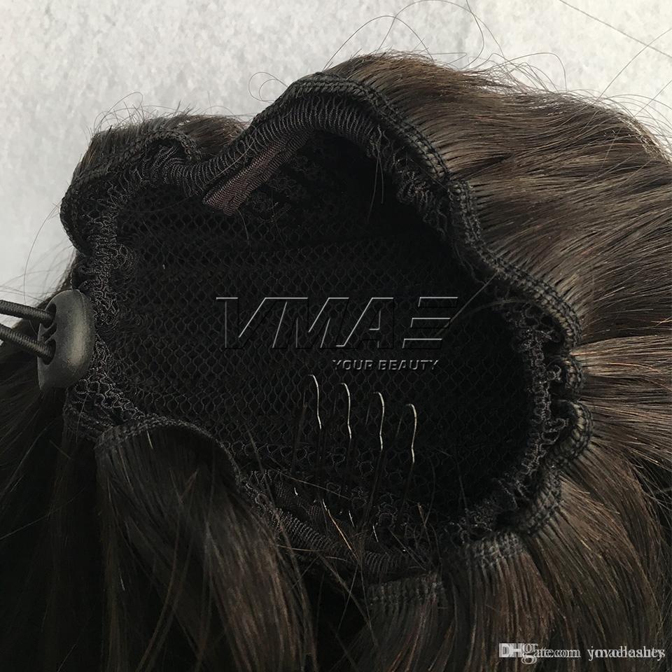 Бразильские выдвижения человеческих волос прямые #1 #1B 8 до 26 дюймов 120g 160g плотный зажим отверстия в хвостиках шнурка