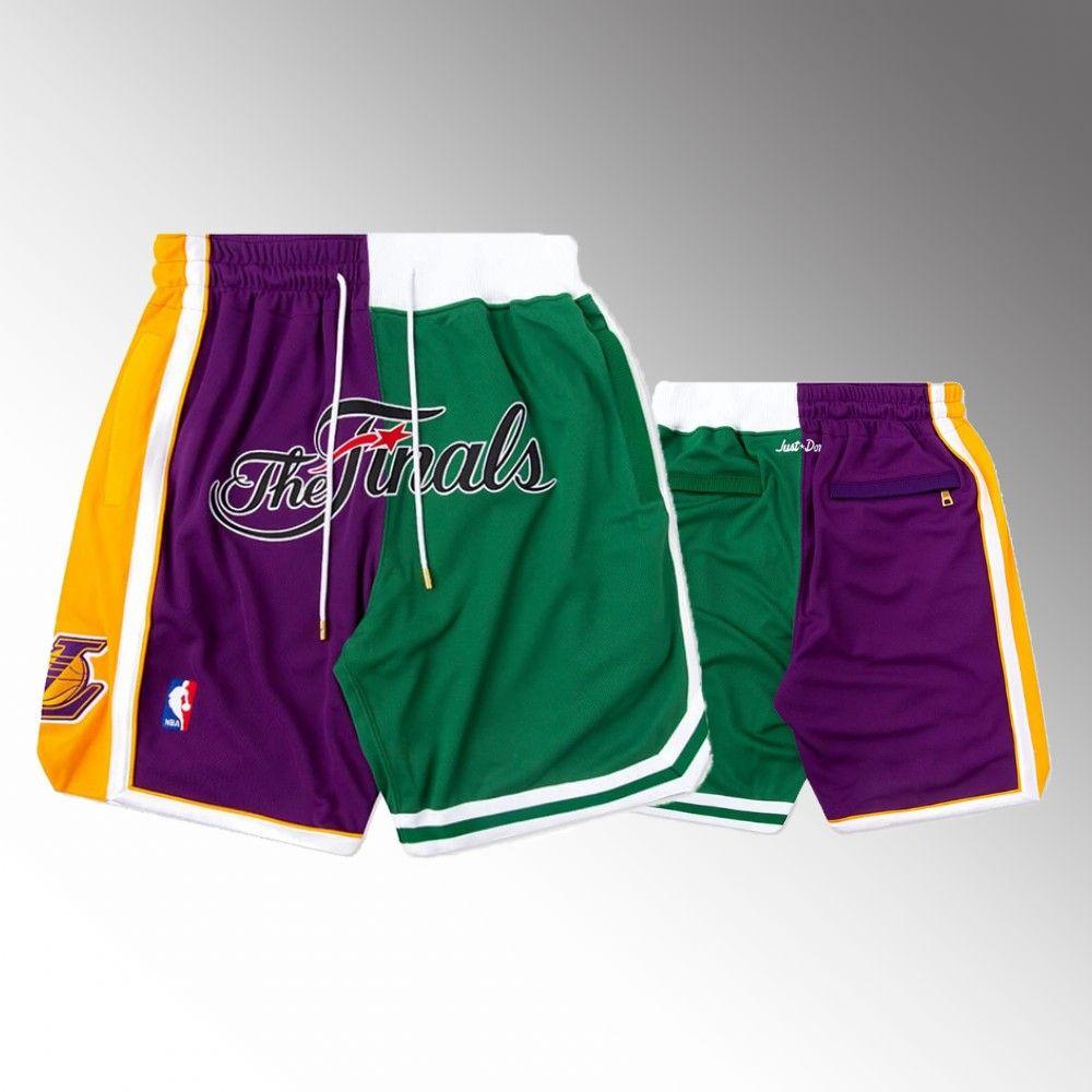 2008 Finals LosAngelesLakersMEN BostonCelticsSplit Shorts JUST DON Pocket pants S-2XL