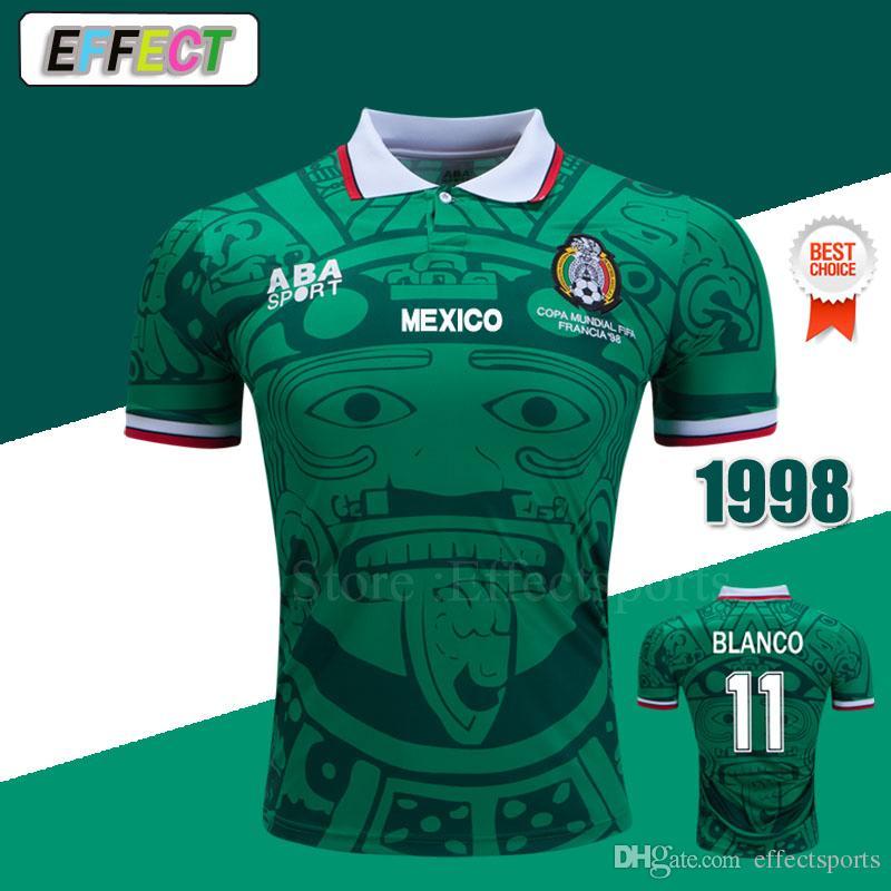^ _ ^ Atacado Retro 1998 Mexico Futebol Jerseys Clássico Vintage Tailândia HOME ALUGAR BLANCO HERNANDEZ FUTEBOL FOTEBOL