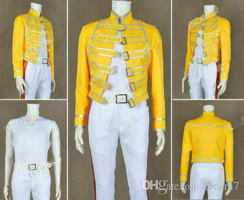 Queen-Band Cosplay Blei Vocals Freddie Mercury Kostüm Yellow Jacket Outwear