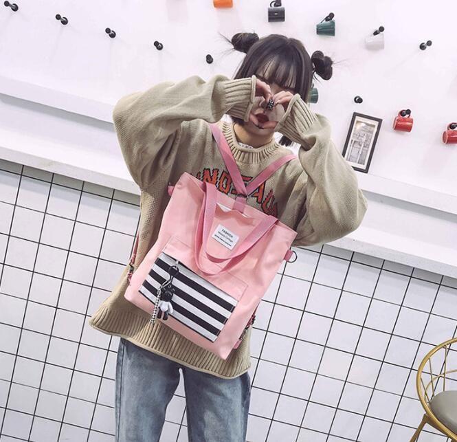 Casual Bez GGA3196-4 Alışveriş Kız Çizgili Tuval Tasarım Çantalar Sırt Çantası Fermuar Bir Omuz çantaları Büyük Kapasiteli Seyahat Saklama Poşetleri