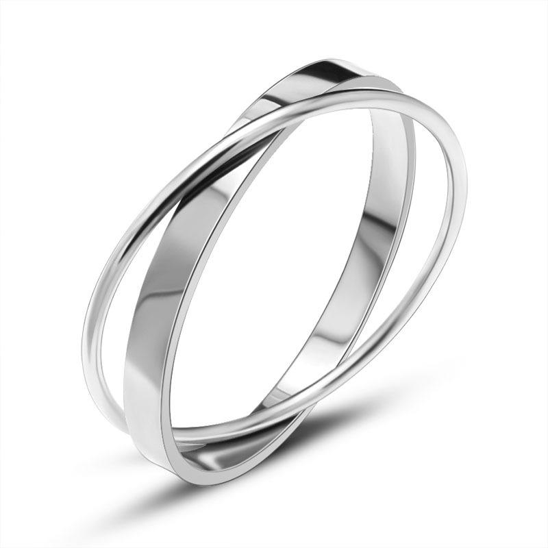 2020 Europäische und amerikanische neue Titan-Stahl-Mode Doppel-Ring-Armband Hot Rose Gold Double Ring-Armband Großhandel Z006